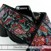 dSLR Camera Strap, Paisley Black Rose, Burgundy, Green, Blue