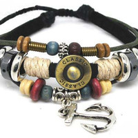 Soft Leather Bracelet Metal Anchor Women&#x27;s Leather by braceletcool
