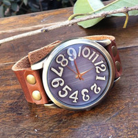 Retro Big Convex Dial Leather Watch