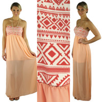 Strapless Aztec Top Maxi Dress - Peach