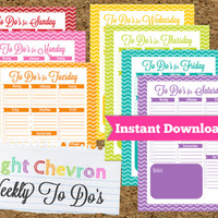 INSTANT DOWNLOAD TO Do List-Weekly Planner- -Bright Chevron Daily To Do-7 Documents