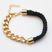 Gold chunky chain and black Silk Bracelet  24k by TheUrbanLady