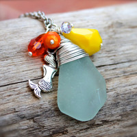 Mermaid Necklace from Hawaii, Hawaiian Jewelry, Aqua Blue Seaglass Pendant, Mermaid Jewelry From Hawaii
