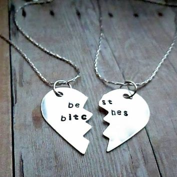 Best Bitches - Silver Broken Heart Necklace Set