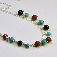 Blue Turquoise Red Jasper Black Onyx Dangle Collar Necklace | LaraJordanJewelry - Jewelry on ArtFire