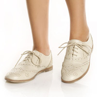 Wanted Myrtle Beige Spectator Lace Up Oxford Flats