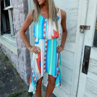 Aztec High-Low Dress