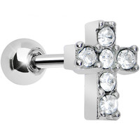 Clear Gem Sparkling Cross Cartilage Tragus Earring | Body Candy Body Jewelry