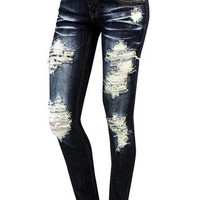 MEDIUM DENIM DESTROYED SKINNY JEANS