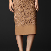 Laser-Cut Lace Pencil Skirt