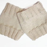 Basic Boot Cuffs, Size Small Medium, Cream, Oatmeal, Off White, Hand Knit