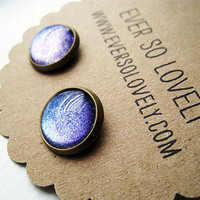 purple rain sparkly metallic earrings by EverSoLovely