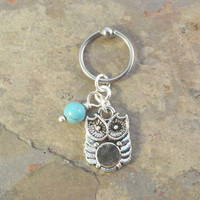 Owl and Turquoise Captive Bead Ring Hoop