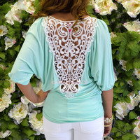 Prescott Mint Crochet Back Top