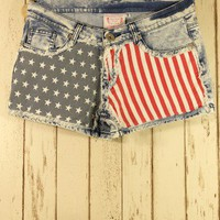 American Flag Washed Denim Shorts - Back in stock - Retro, Indie and Unique Fashion