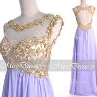 Lilac Prom Dresses, 2014 Prom Gown, Straps with Open Back Lace and Chiffon Long Lilac Prom Dresses, Lilac Formal Gown, Lilac Evening Dresses