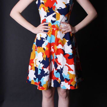 Vintage 1960s Dress - 60s Mod Dress - Vintage Graphic Dress - 2849