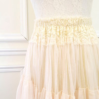Romantic beige ivory lace skirt tutu tulle pleated mini skirt victorian smocked waist tube top babydoll