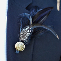 The Knightly  Boutonniere by HoneyandLaceDesigns on Etsy