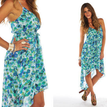 Blue Floral Asymmetrical	 Dress - Large