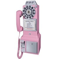 rosley 1950's Retro Payphone - Comes in Black, Pink, Red and Brushed Chrome