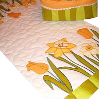 Quilted table runner, applique quilted table topper, Easter Spring Decoration- yellow, white, green, orange -