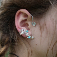 Pair of Ear Cuffs with turquoise colored beads and by jhammerberg