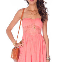 Put in Lace Strapless Dress in Coral :: tobi