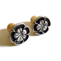 Wood Ear Plugs 0g Antiqued Silver and Rhinestone by PinkCupcakeJC