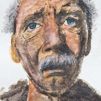 Watercolor Old Man Painting by Artist Kate Sumners | ESArt - Painting on ArtFire