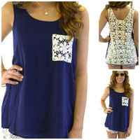 Coast to Coast Navy Crochet Tank