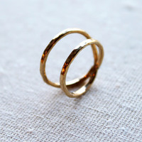 Hammered Parallel Ring//14kt Gold Filled