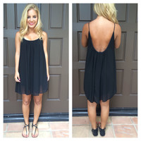 Black Low Back Chiffon Melody Dress