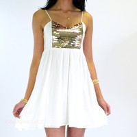 Golden Hour White Sequin Smock Dress