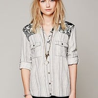 Free People Stripe Printed Shoulder Shirt