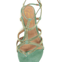 Mint Suede Studded Gladiator Sandals
