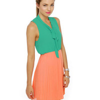 Cute Peach Dress - Mint Dress - Color Block Dress