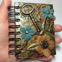 Vintage Steampunk Inspired Mixed Media Altered Small Wire Bound Notebook