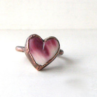 Raw Heart Shell Ring Valentine Stone Size 5 Ring Cocktail Ring Copper Jewelry Purple Plum Orchid Cream