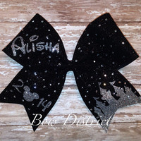 "3"" Black Glitter Cheer Bow with Silver Glitter Castle, Name, and Year - Rhinestones additional fee"