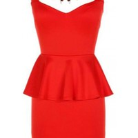 The Red Jeweled Peplum Dress - 29 N Under