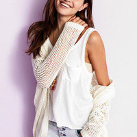 Hooded Open Stitch Cardigan