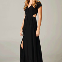 Stay charming this summer in the Sweet Cutout Maxi Dress. This short sleeve maxi dress features cut-out at waist, deep v-neckline with button up closure, triangle shape cut-out back at back contrast with semi-sheer chiffon detailing with elastic built in f