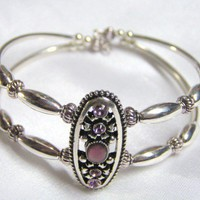 Light Amethyst Cuff Bracelet | Heavenly-Inspired - Jewelry on ArtFire