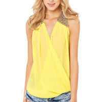 Beaded Shoulder Twist Hem Top in Lemon