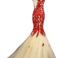 Sunvary Champagne and Red Mermaid Lace Prom Dresses for Evening Formal Gowns Long - US Size 12- Champagne and Red