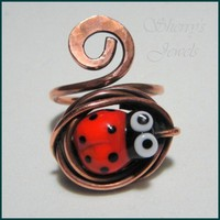 Ladybug Adjustable Ring Red Lampwork Lady Bug and Copper | SherrysJewels - Jewelry on ArtFire