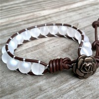 White Ice - Brown leather single-wrap bracelet  white glass beads | TOWNOFBEADROCK - Jewelry on ArtFire
