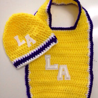 L A Lakers Bib and Beanie Crochet Gift Set