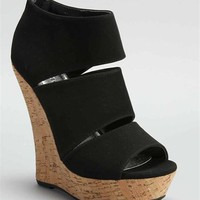Black Peep Toe Wedge